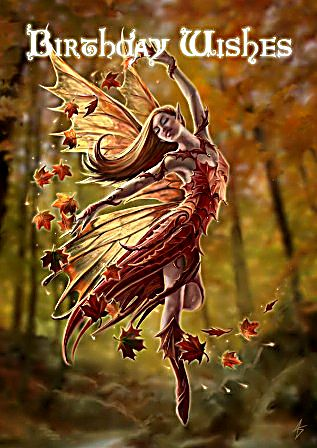 Autumn Fairy Birthday Cards