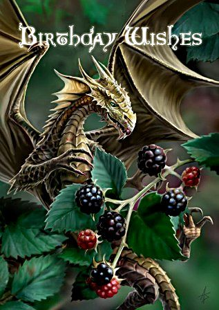 Blackberry Dragon Birthday Cards
