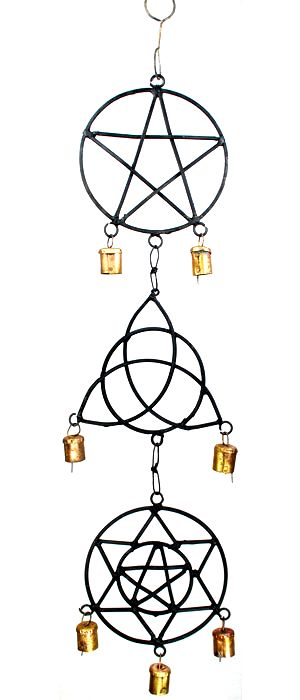 Pentagram, Star, & Triquetra Wind Chime