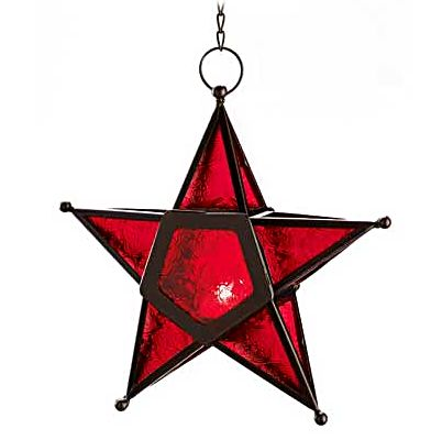 Red Glass Star Candle Lantern