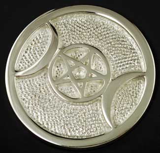 Silver Plated Triple Moon Altar Tile