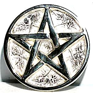 Silver Plated Brass Pentacle Altar Tile 3 Inch
